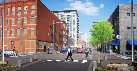 Intersection rendering at Green & Fulton Market Street