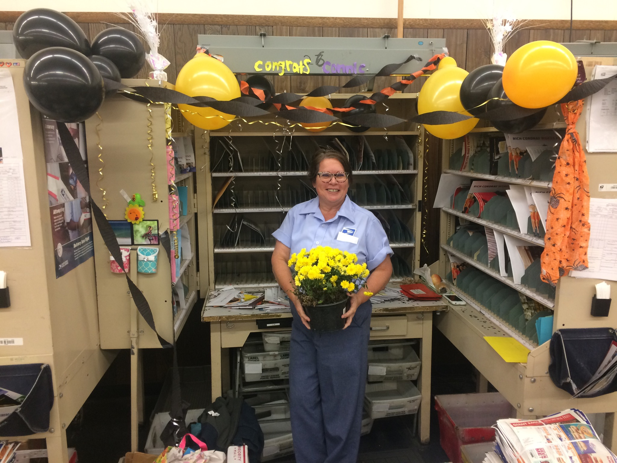 Connie Gerhart on her last day