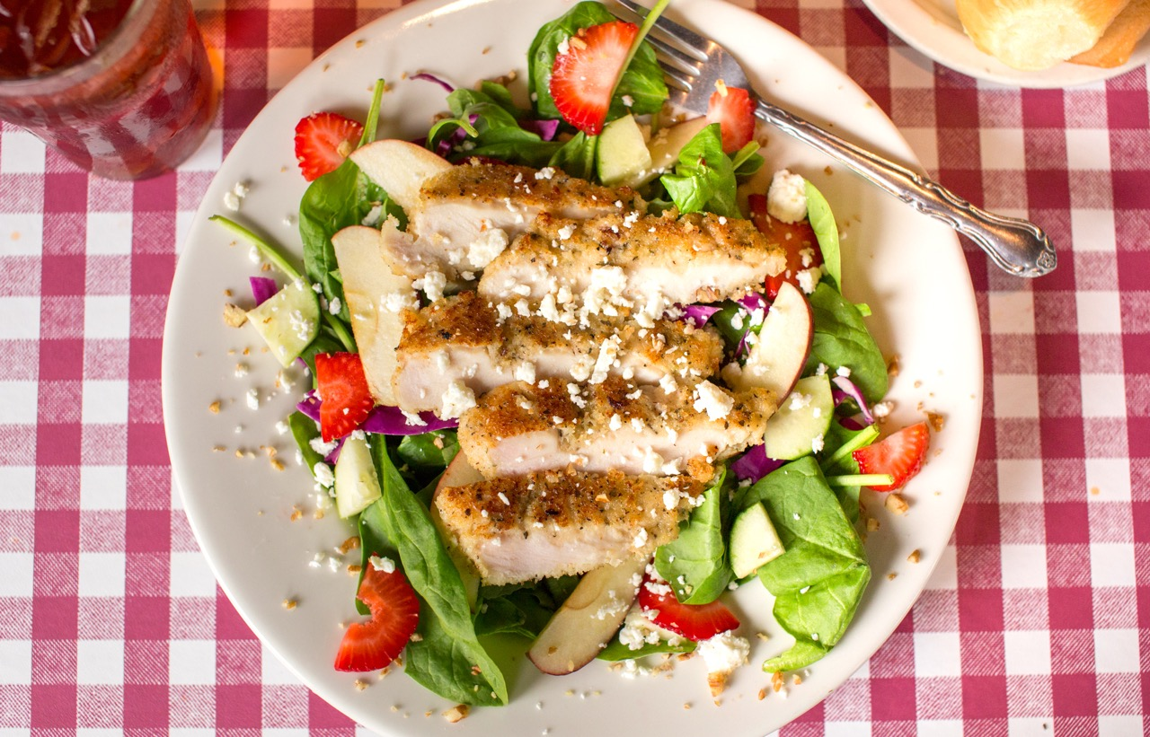 Pecan Chicken Spinach Salad