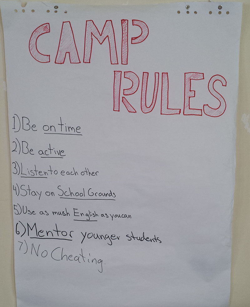 Camp Rules. Numbers 6 and 7 were added after day 1, and rule 3 had to be continually stressed.