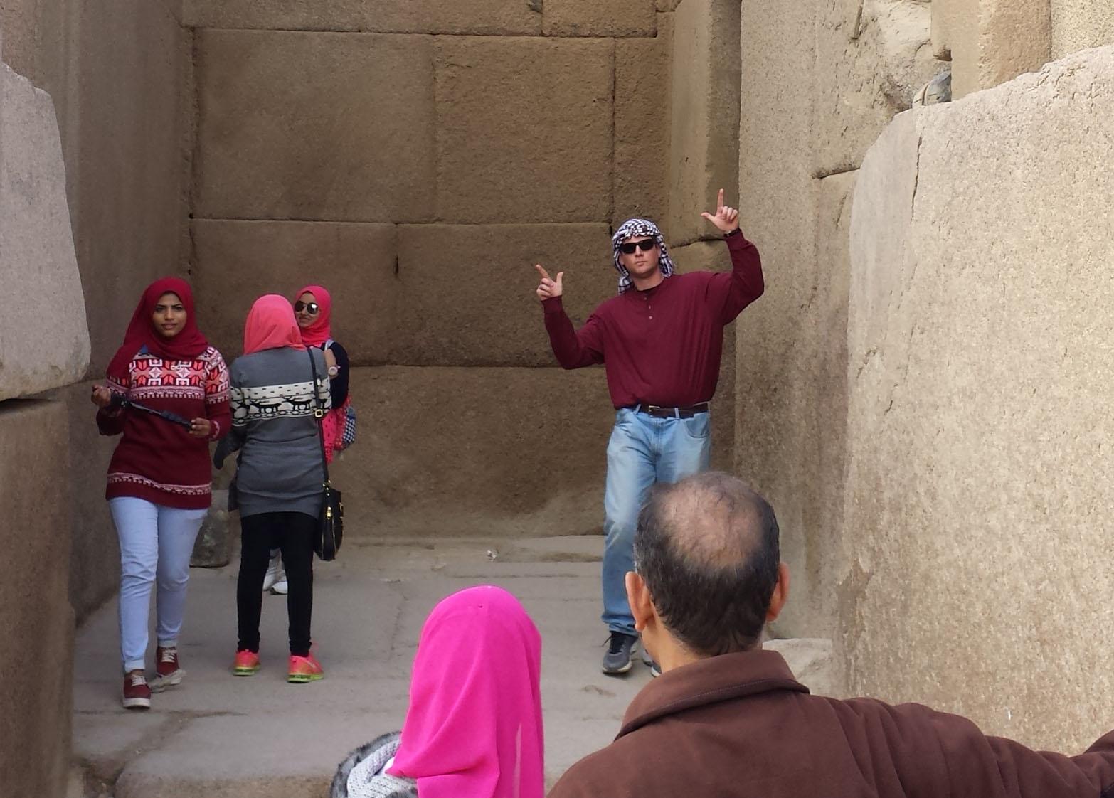 Dan posing in the temple complex near the sphinx.