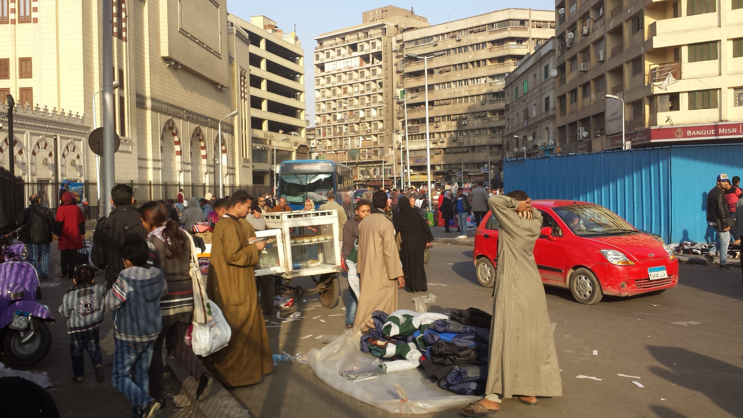 Many of Cairo's streets have vendors hawking wares like this.