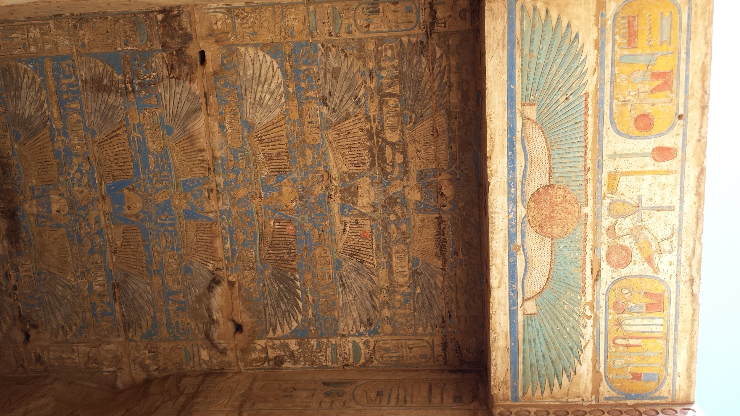 The ceiling of Habu temple, still rich with color after all these years.