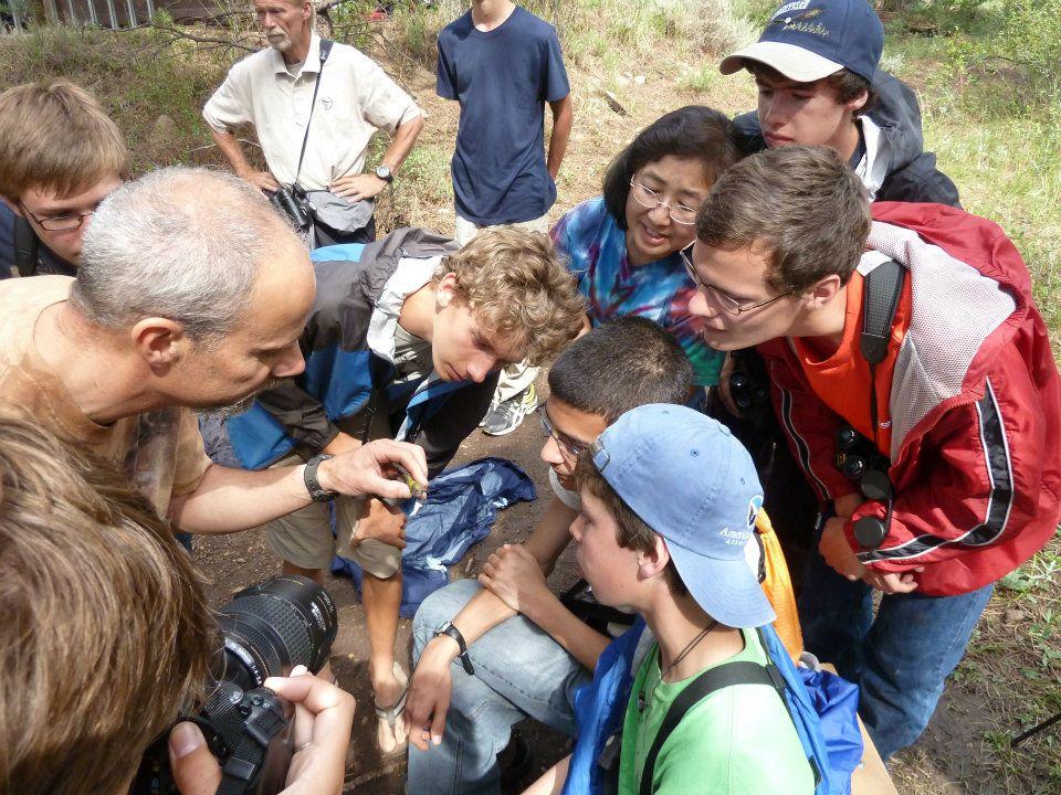 Scott teaches kids at the Estes Park YMCA the biology of a hummingbird before banding it