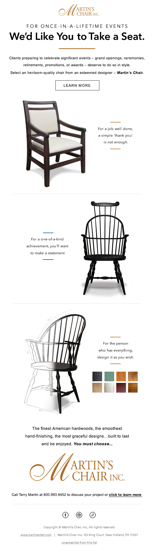 Martin's Chair Email Design