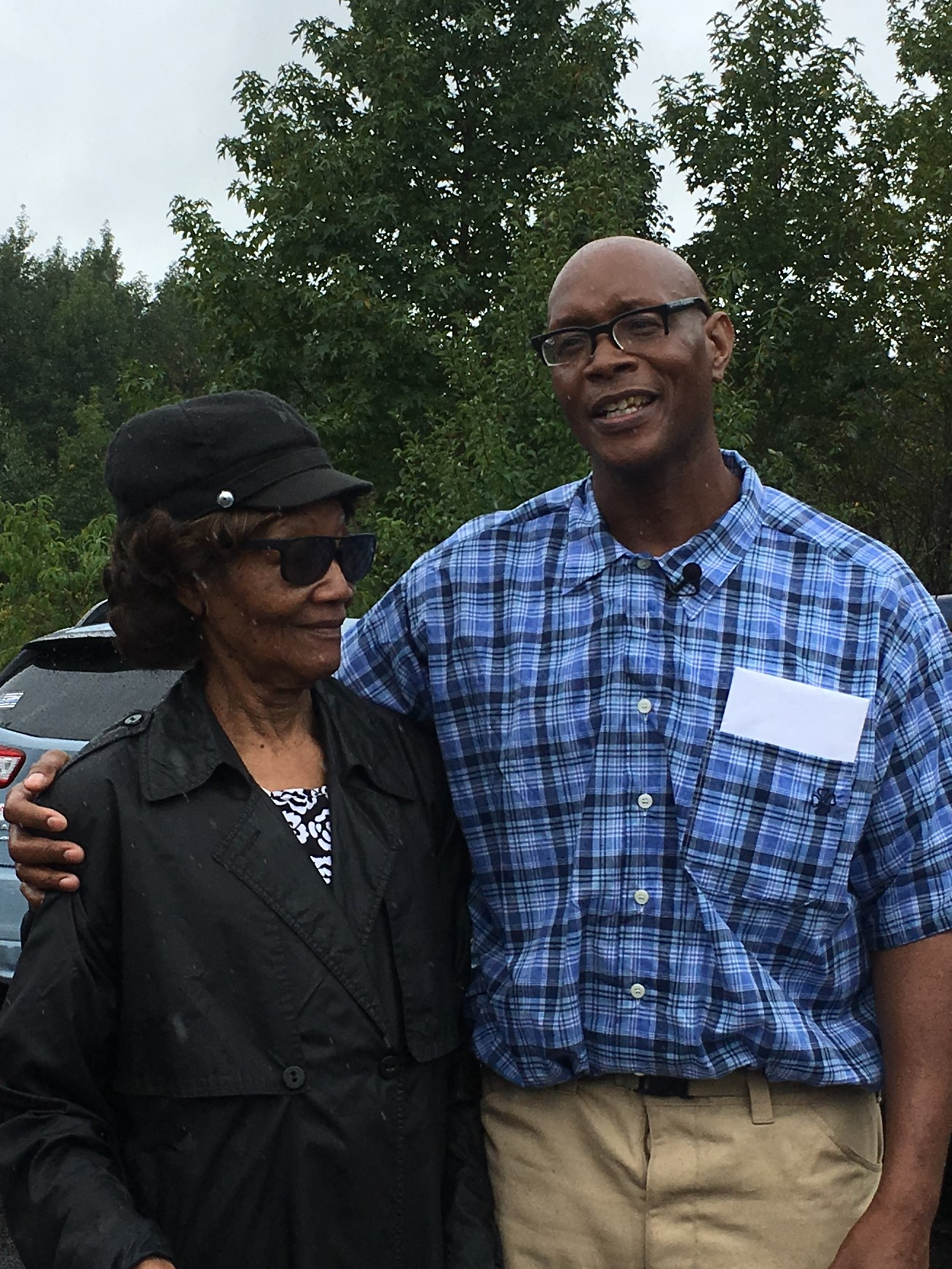 Darnell Phillips with his mother