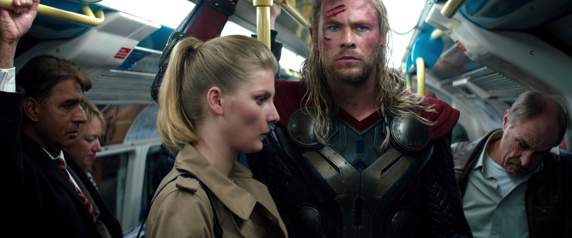Just think, subway lady, if you had hit Thor with your car YOU'D be the love of his life right now!