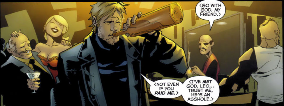 Midnighter can talk with a bottle in his mouth.