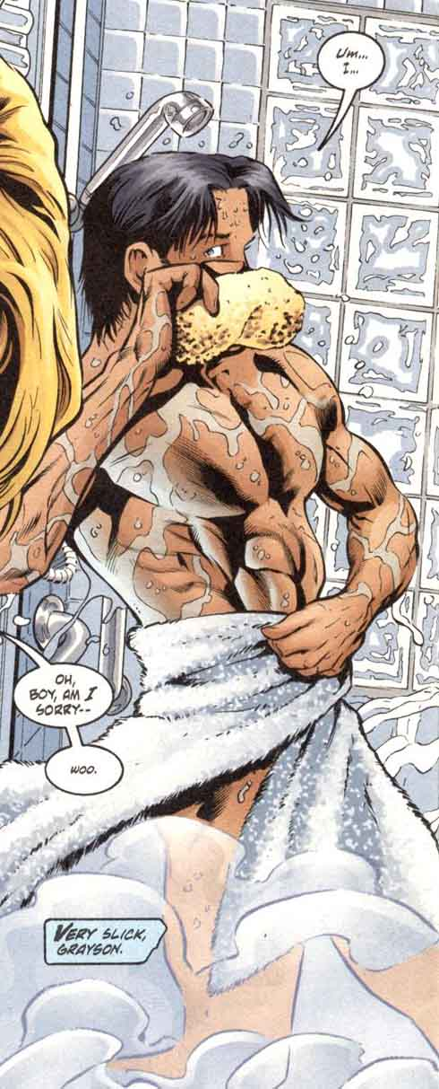 Every nightwing comic should have a shower scene.