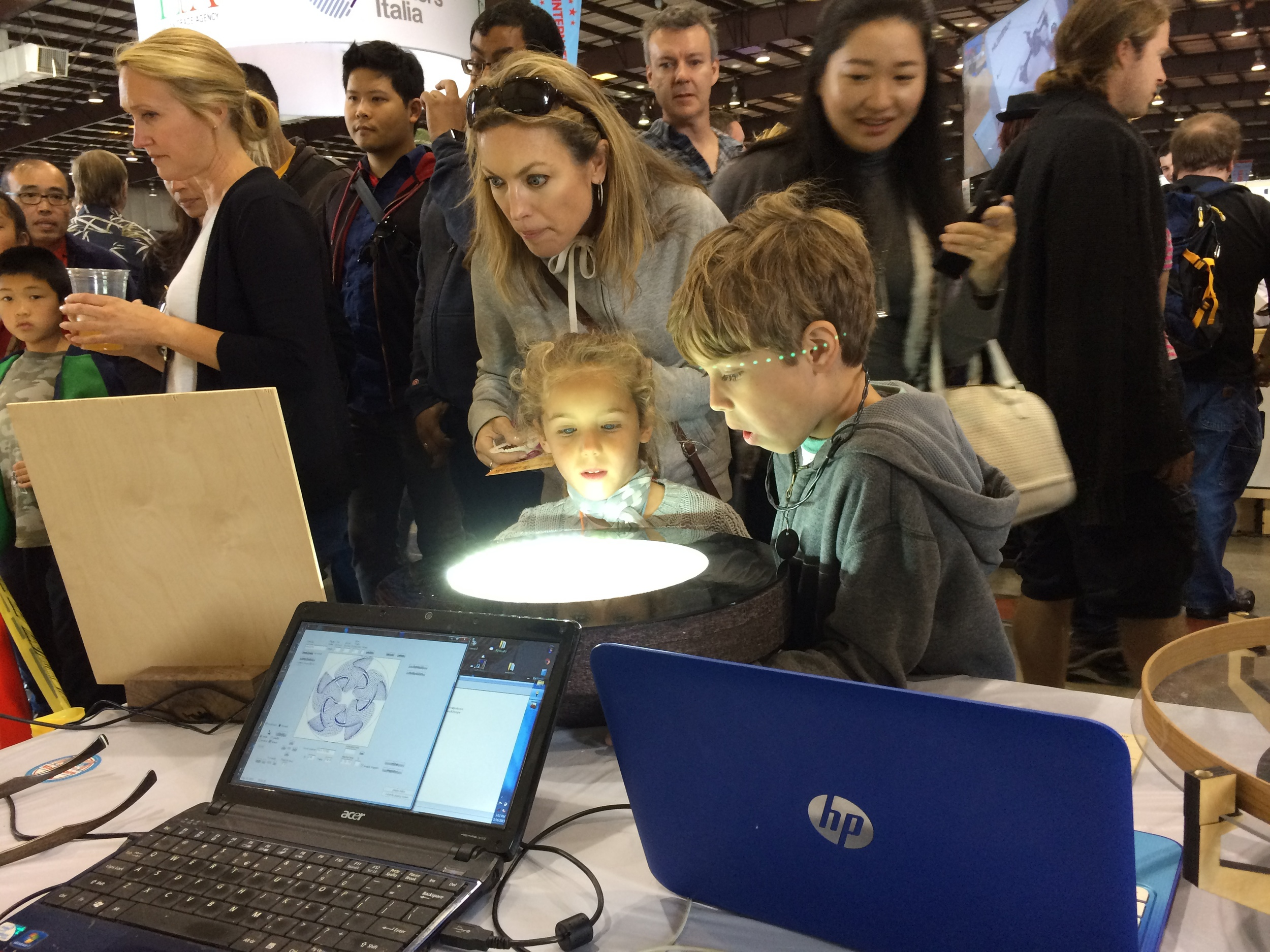 Visitors to our booth, at the 10th annual Bay Area Makers Faire