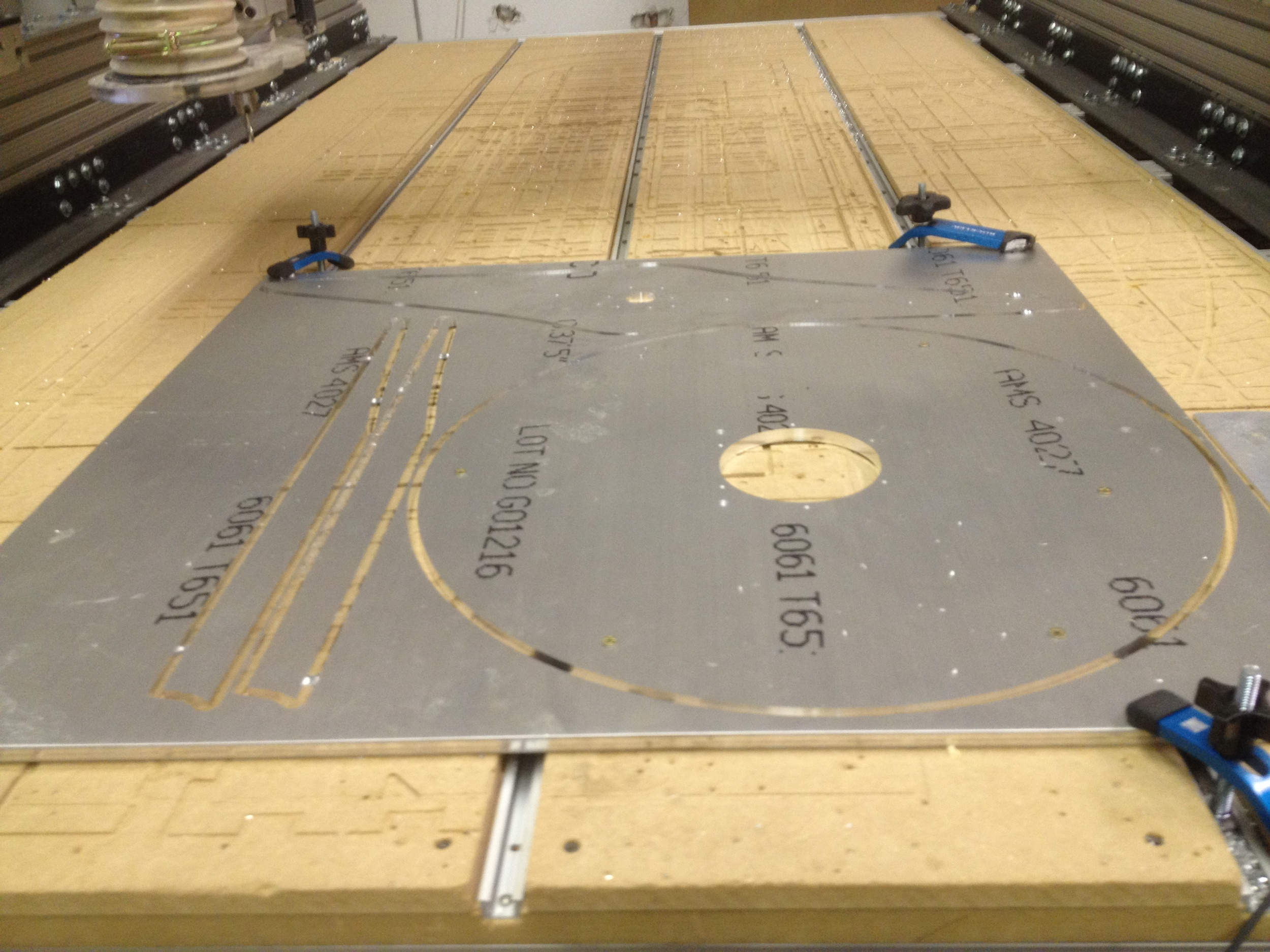 CNC-routed aluminum plate