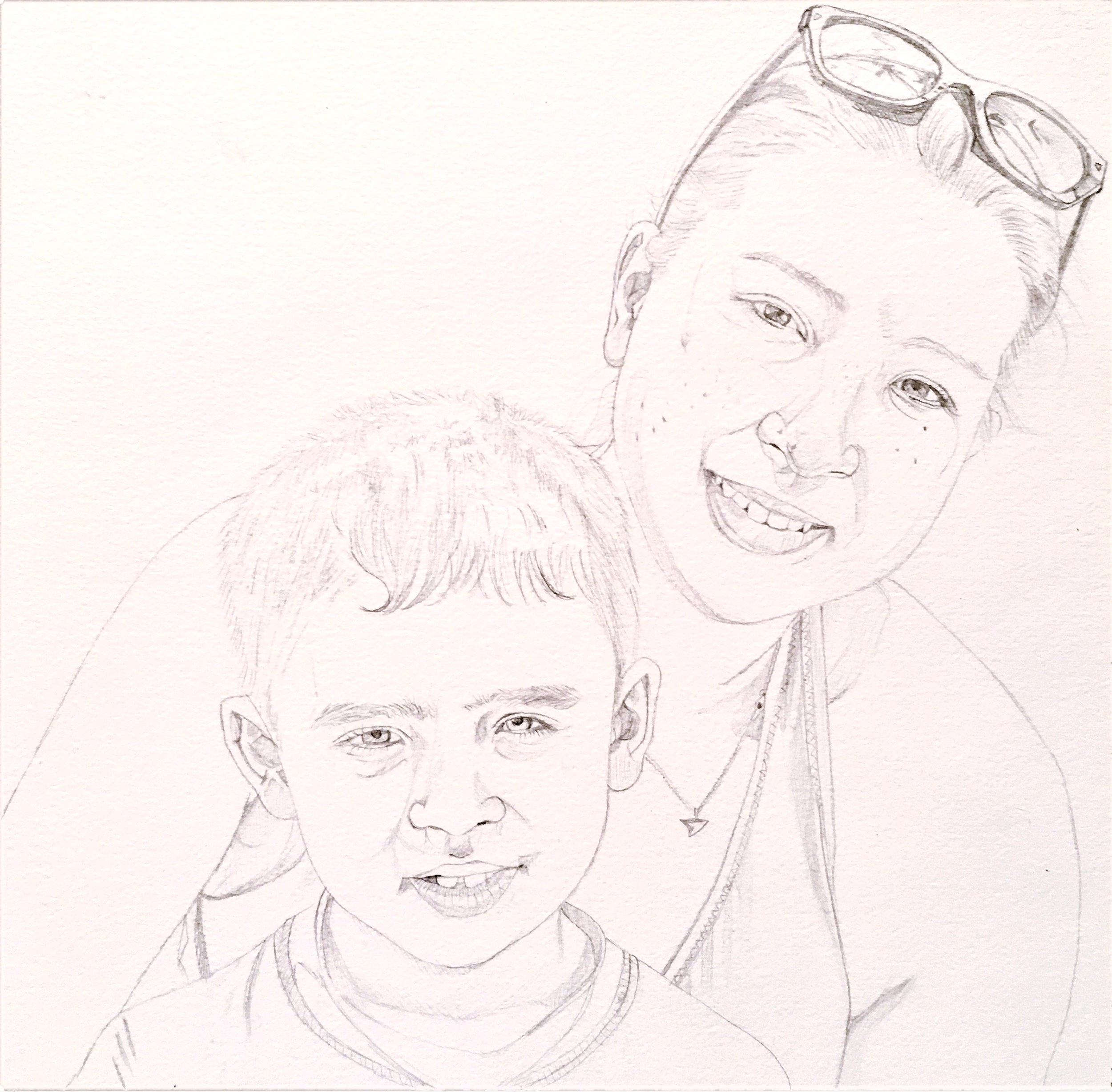The first step in my painting is to draw the subjects carefully in pencil.   This piece is a portrait of my son and me.