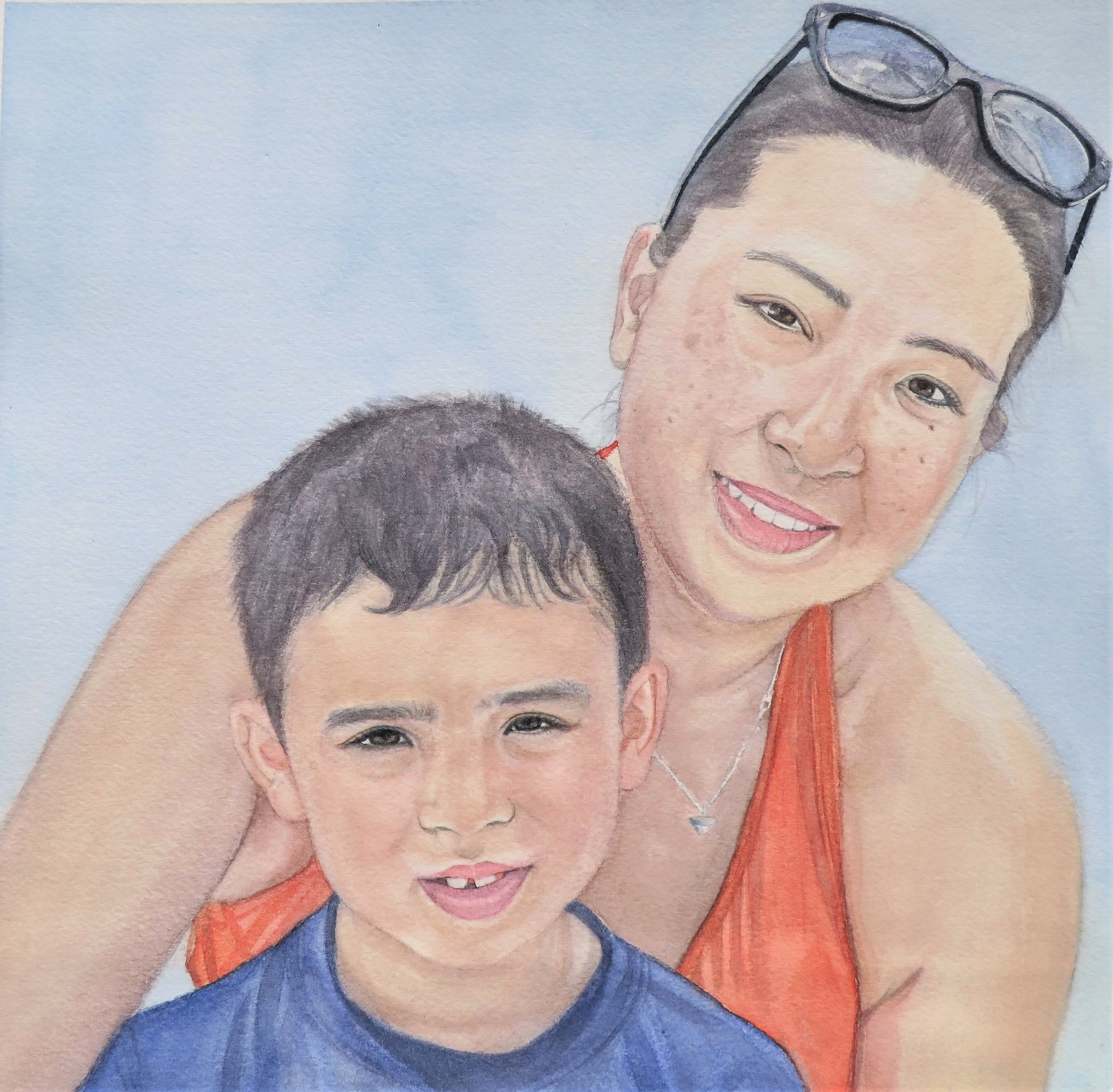 I deepened the background, my son's hair and shirt.  Finished!
