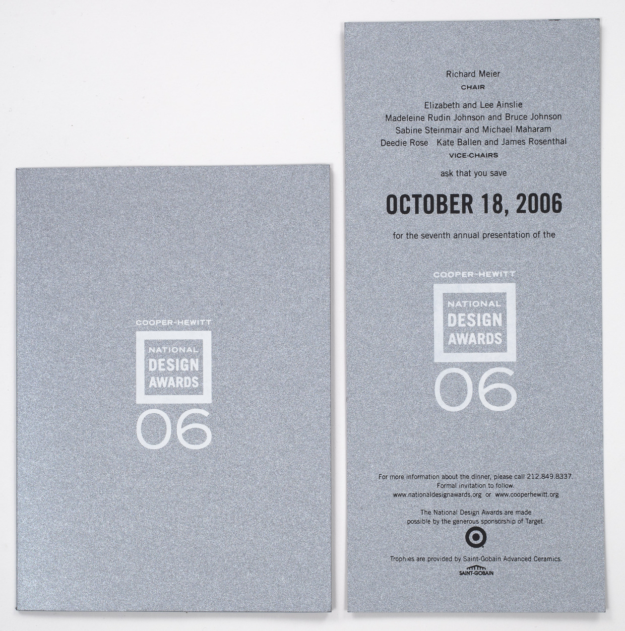 2006 was the first year that the National Design Awards Gala was a black tie event. Tsang Seymour secured paper mill donation of an important metallic silver and black dye paper duplex paper stock to communicate the shift from a dinner banquet to a gala celebration.