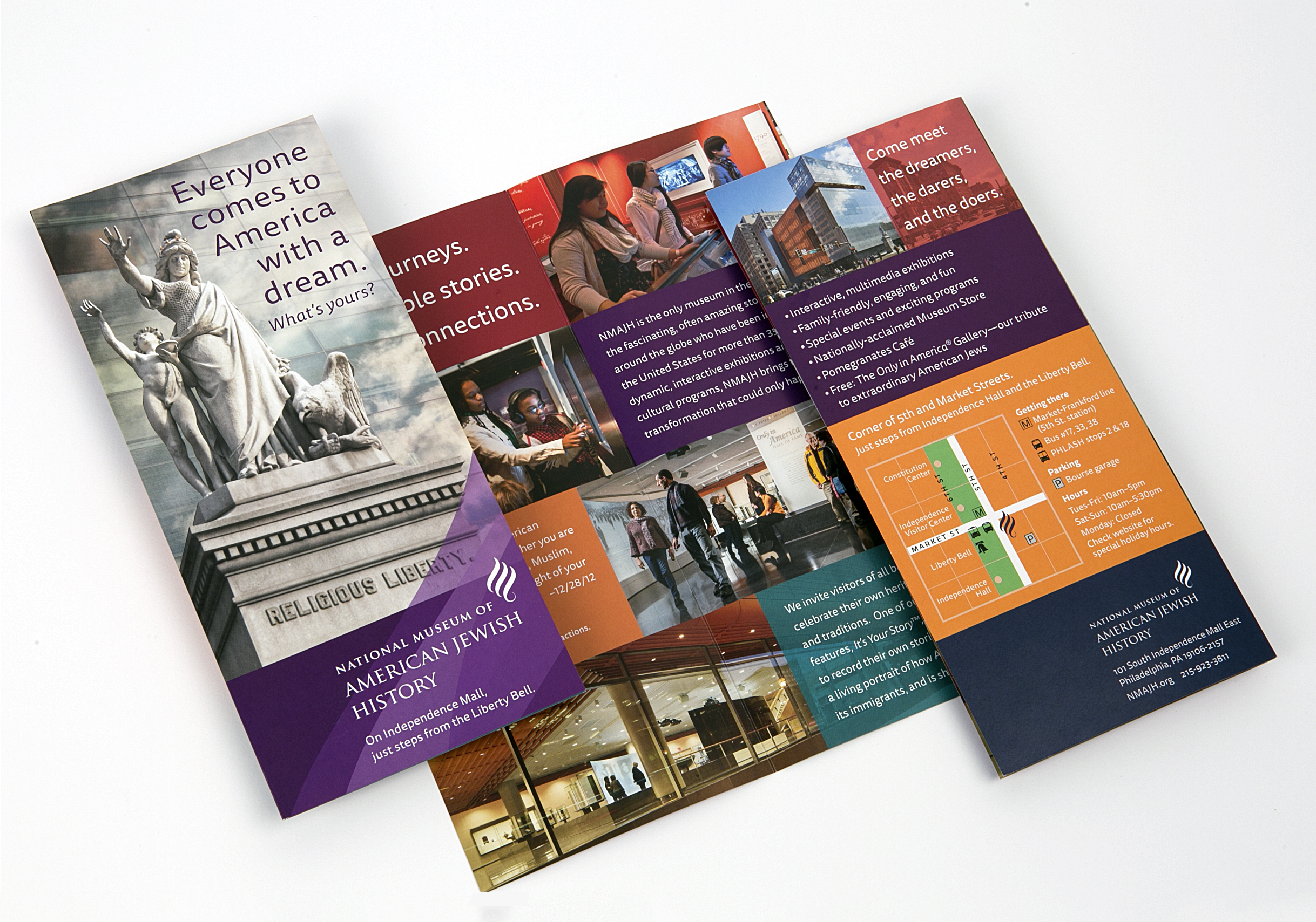 Philadelphia Tourist Board rack cards feature the new color palette, photography program and editorial voice to invite broader audiences to this American history destination.