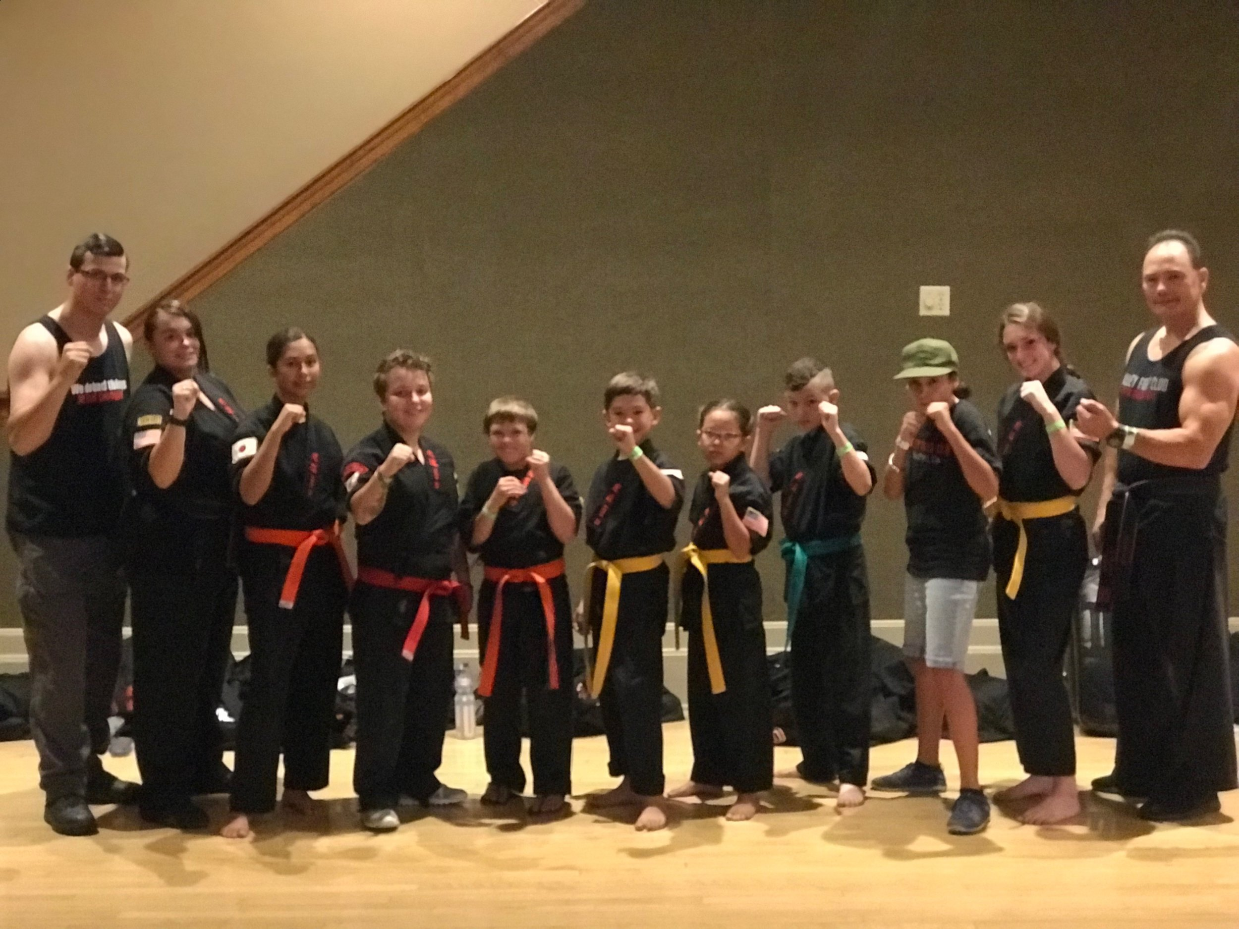 From left to right: Gage Silveira, Sensei Bailey Silveira, Citlali Diaz, Sempai Ashlyn Fagundes, Matt Wilson, Daren Deftereos, Genevive Rodrigues, Casen Lewis, Yasmine Ibrahim, Rylan Lewis, and Shihan D. Womack. (This photo was taken upon arrival and before competition had begun)