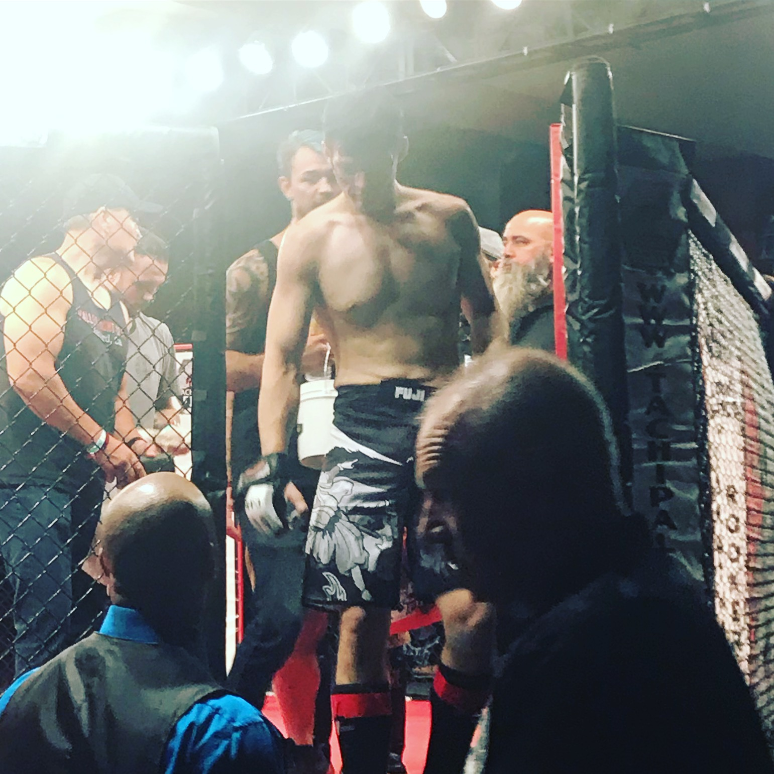 Ryan Ballin  exiting the cage at Tachi Palace Fights: Prospects 2