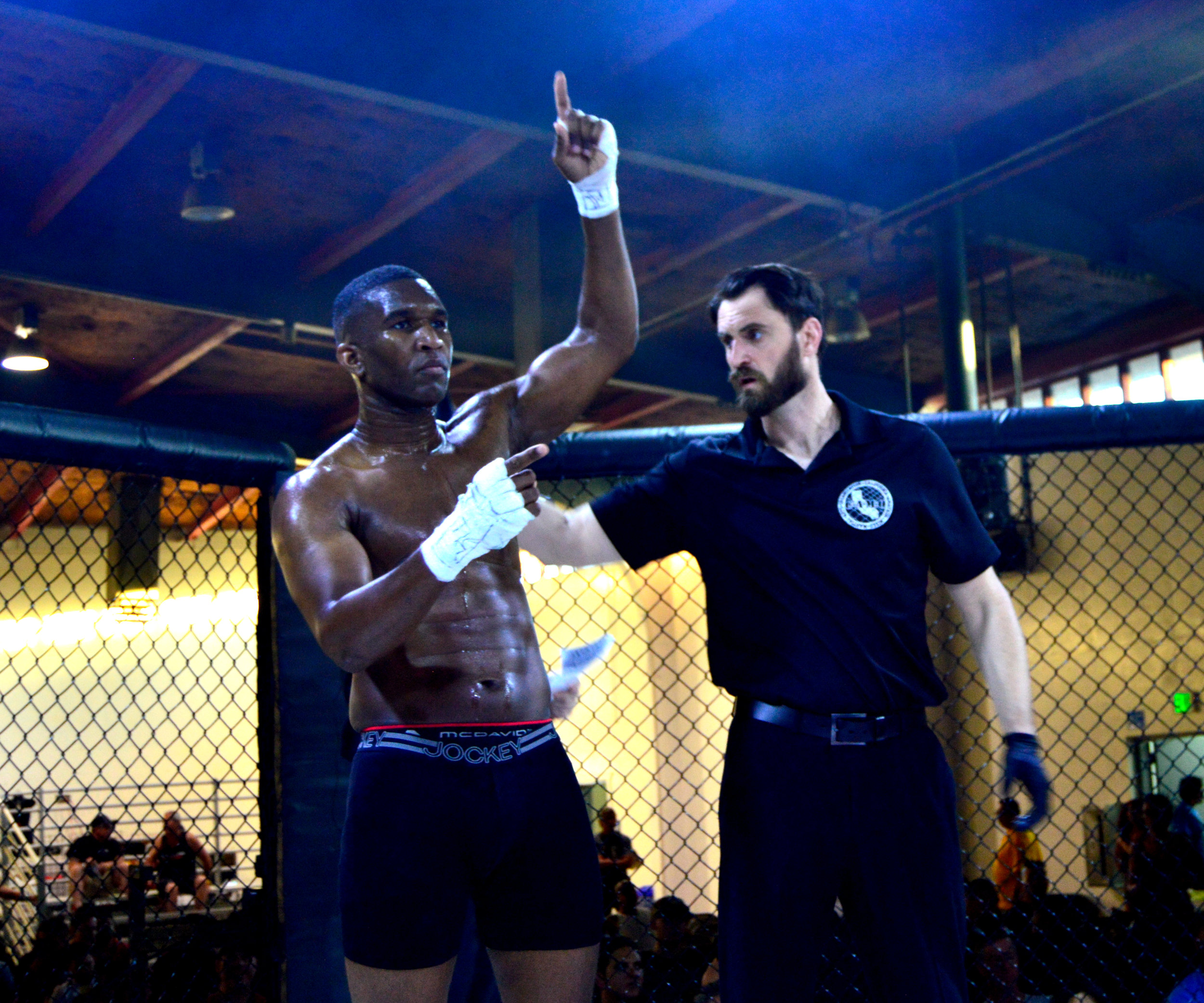 Marqus Blevins had his hand raised in victory following a second-round TKO win.