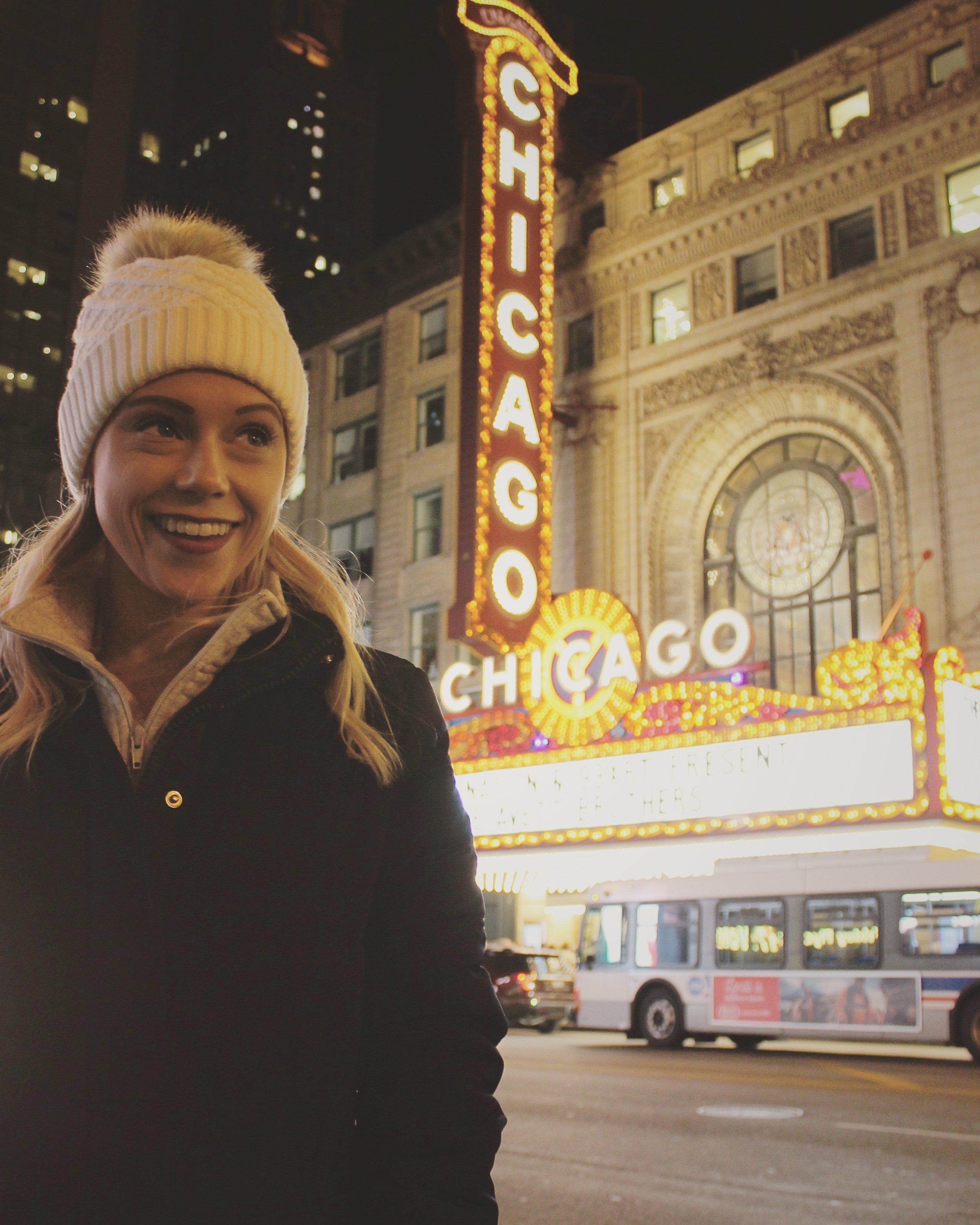 Outside the Chicago Theater   @emilyminormusic on Instagram