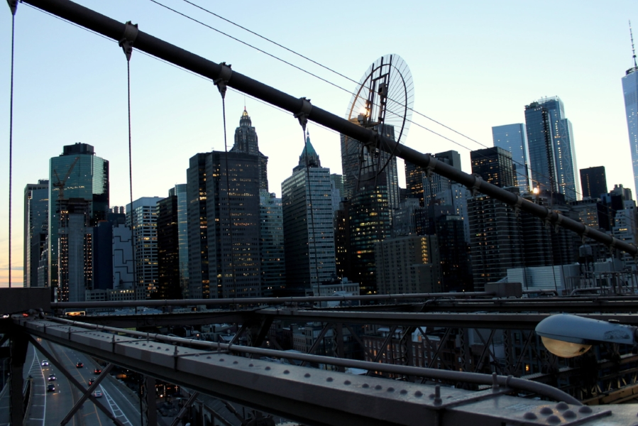 NYC Views from The Brooklyn Bridge at sunset.