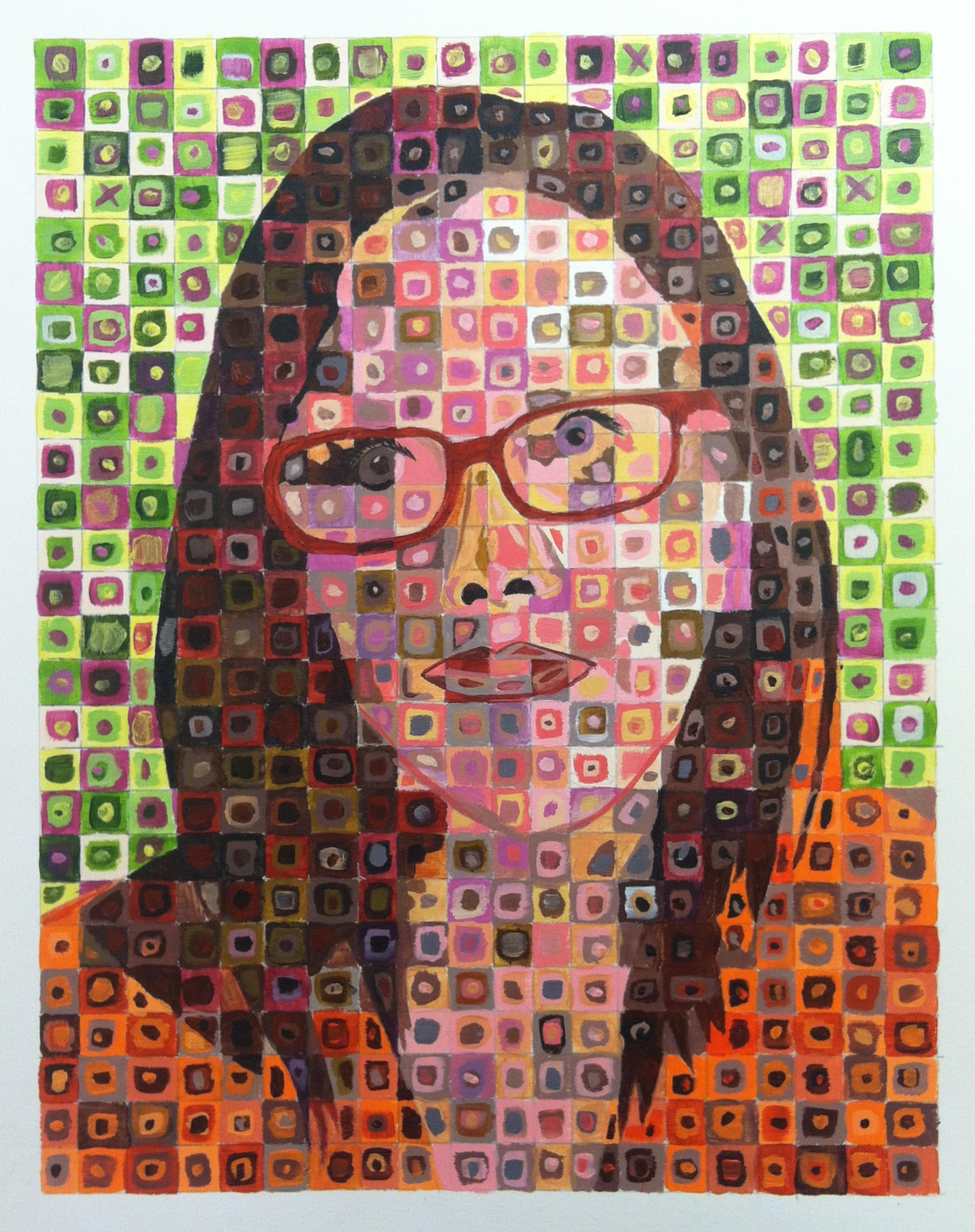 Final Lesson:  Optical Mixing Style Self-Portrait inspired by Chuck Close