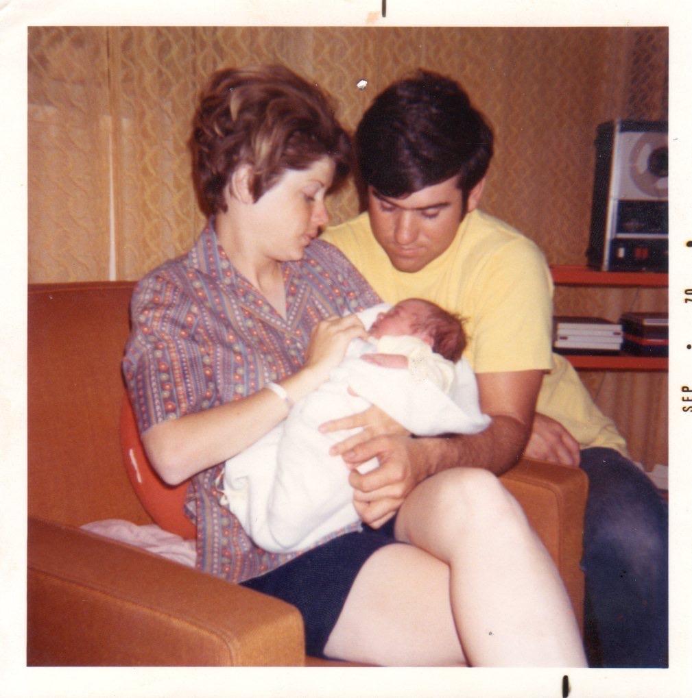 My teenage mom + dad with me, 1970.