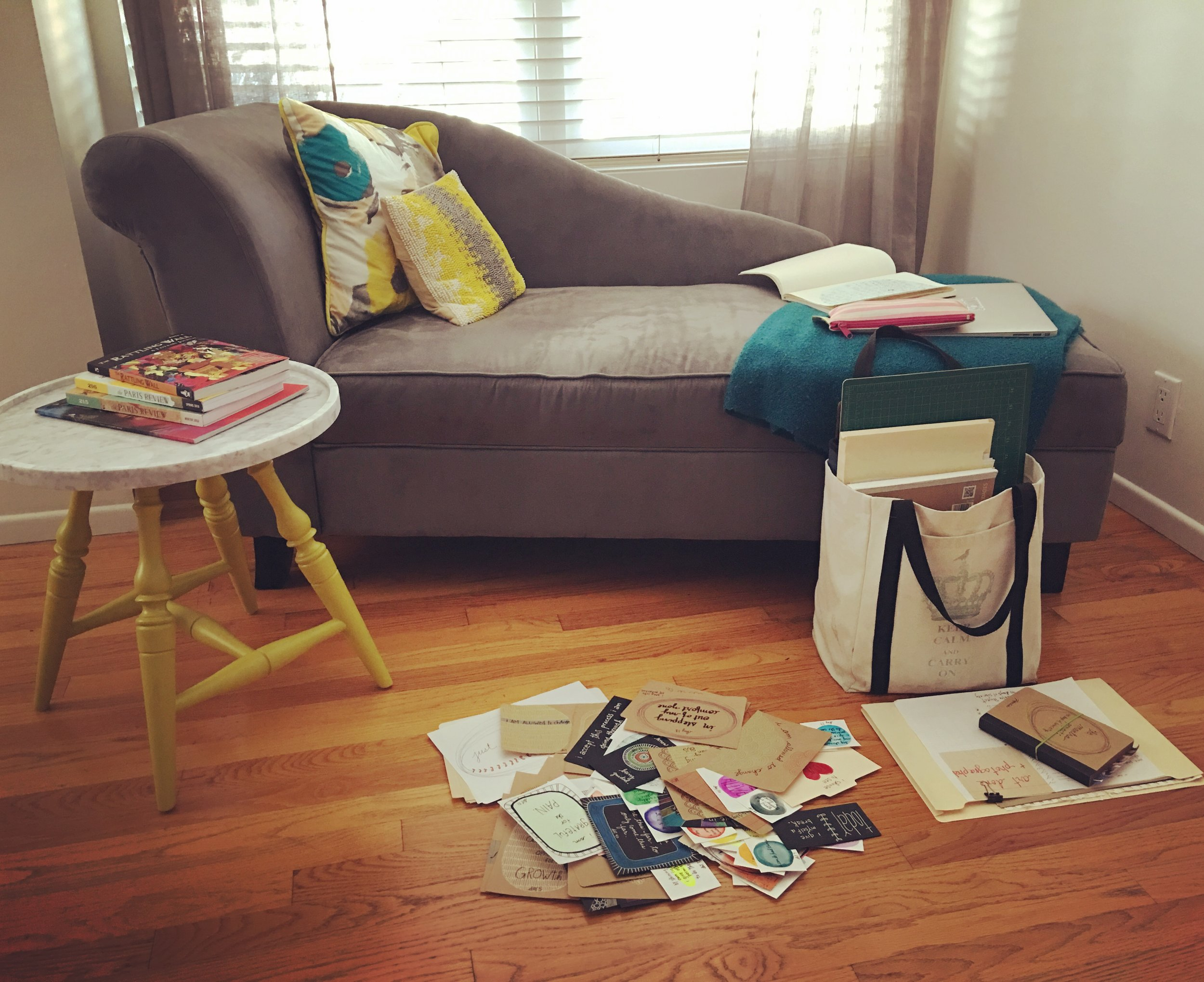 My corner at Katie's house. Her fainting chair? The best, right? My makeshift office + happy place.