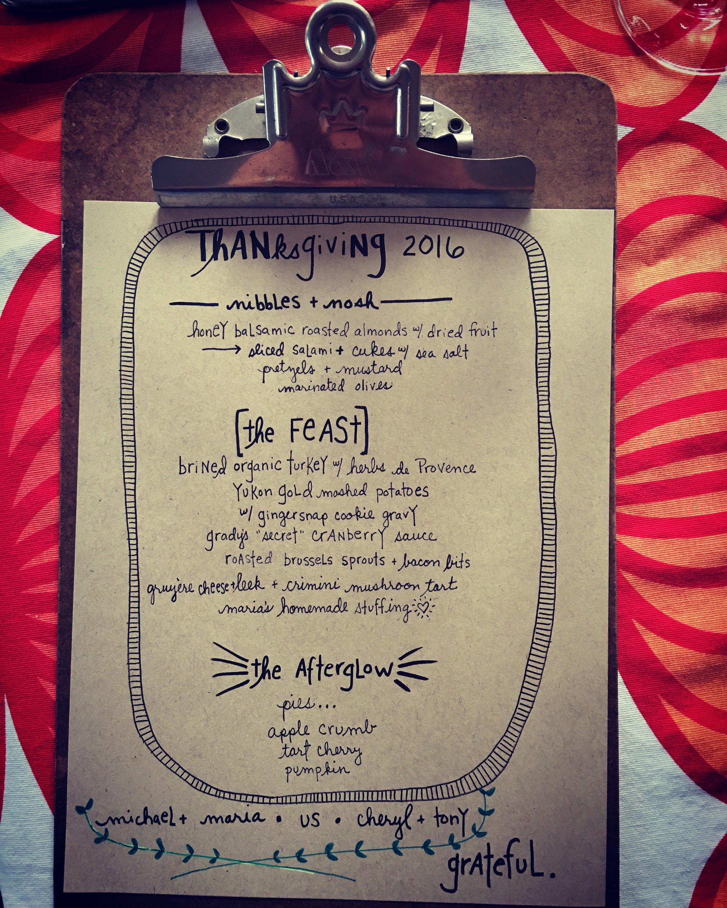 Thanksgiving Day Menu 2016