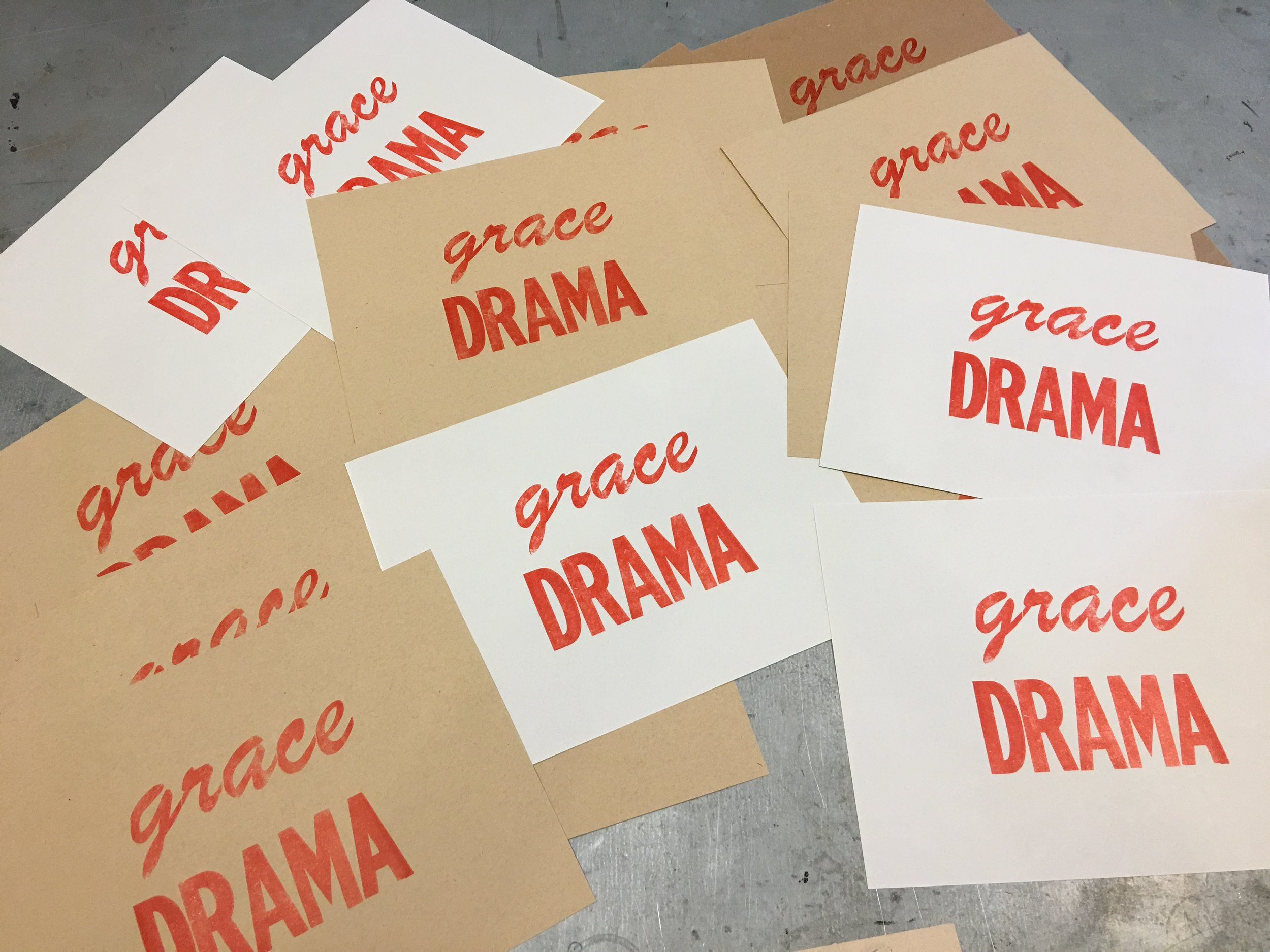 Letterpressed prints of the acronym for G.O.D. - Grace Over Drama for the Winter Solstice Recovery Gals Art Exchange Theme - SURRENDER