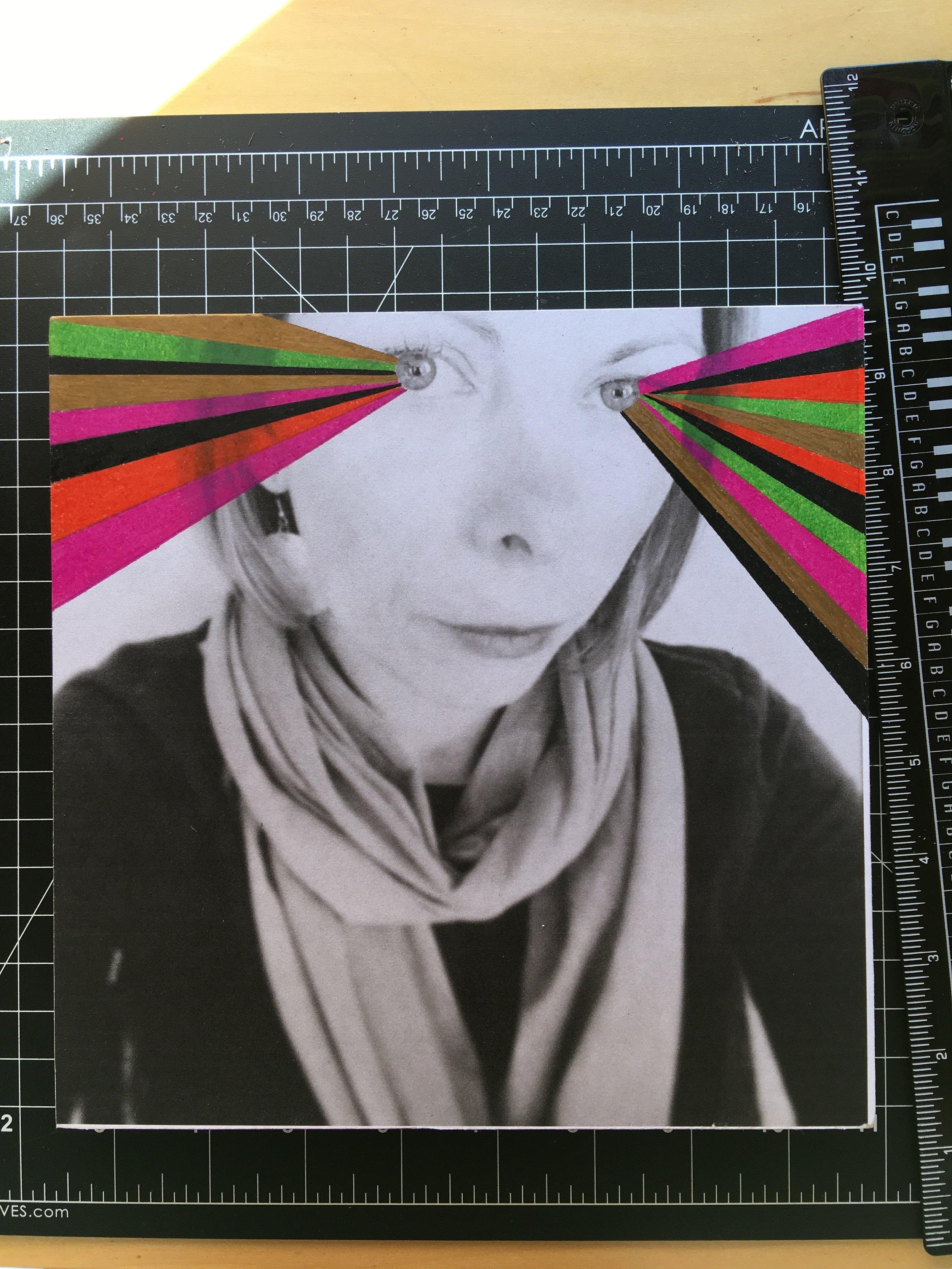 "Mixed media: b/w photocopy + Prisma coloredpencils on an 8"" x 8"" hardwood panel"