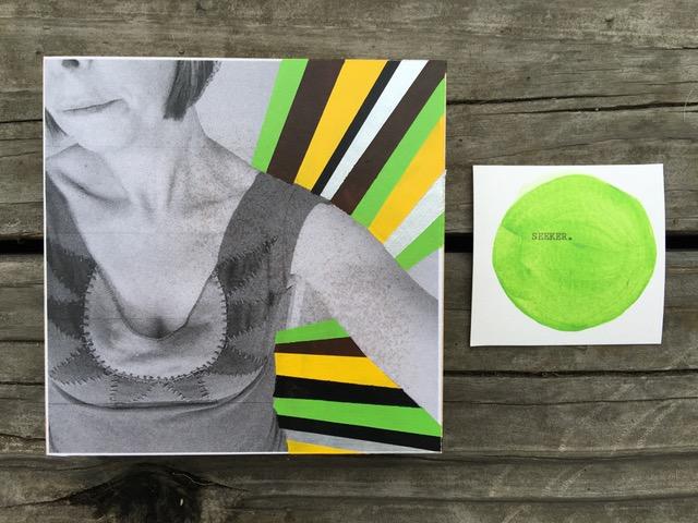 "Mixed Media: b/w photocopy+ acrylic paints on a 5"" x 5"" hardwood panel"