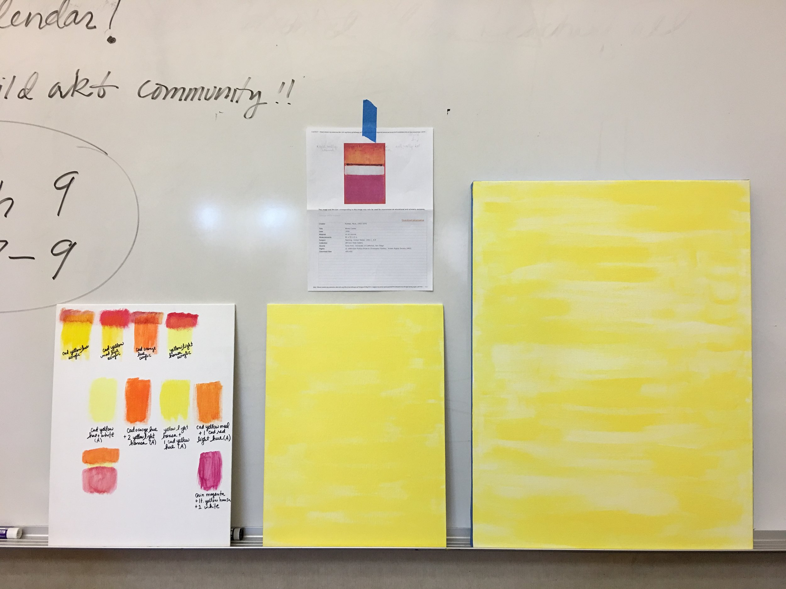 Plan D: Mixing a color chart + starting the under-paintings for two paintings of rothko's white center