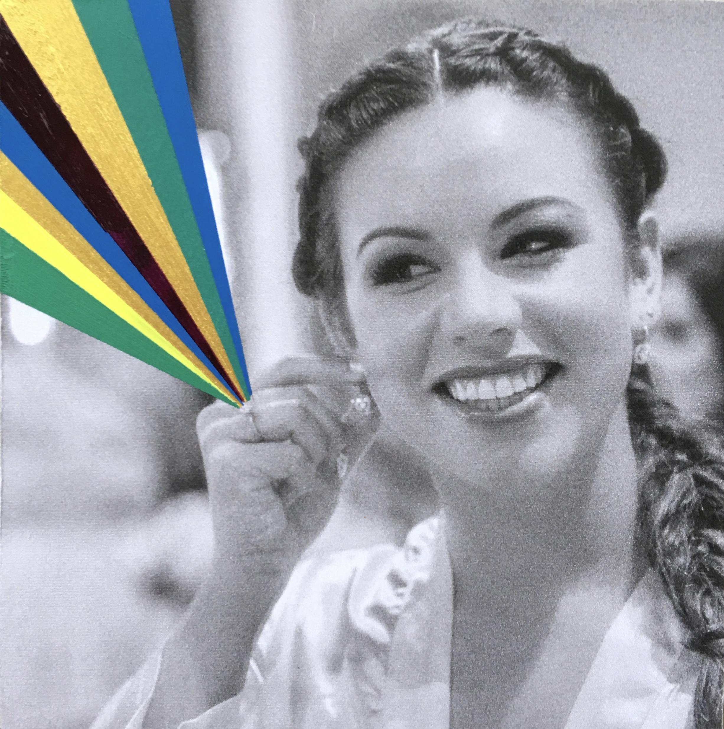 """Original image courtesy of Kelly's wedding photographers  Photopro  Mixed media with b/w photo + acrylic paints on 4"""" x 4"""" wood panel"""