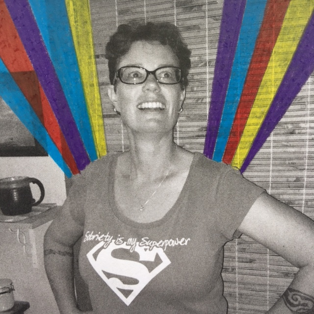 Sarelle rocking her 'Sobriety is my Superpower' shirt like a boss!