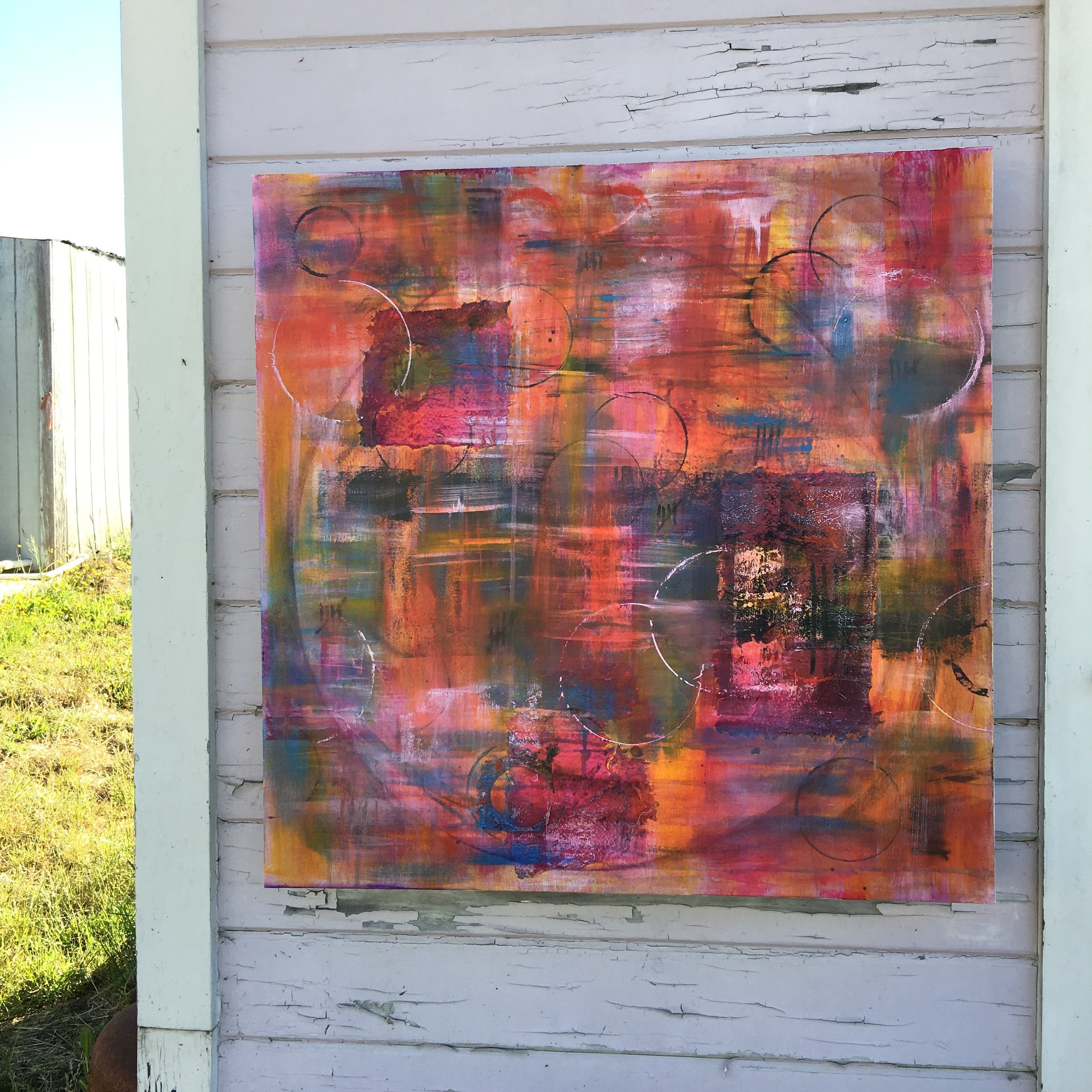 "Full Circle No. 1 - acrylic + oil on canvas 30"" x 30"""