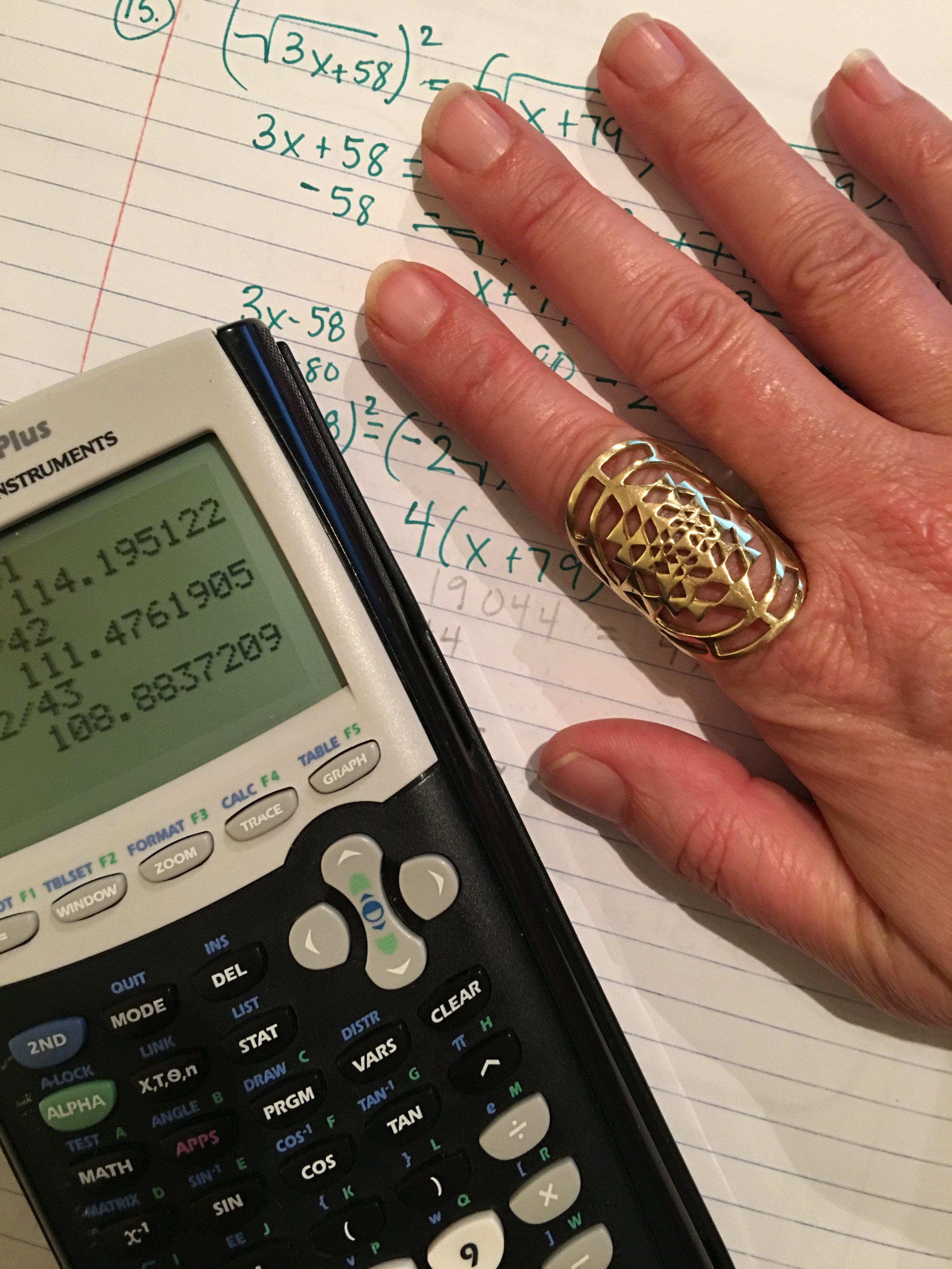Algebra + Sacred Geometry adorning my  Jupiter Finger