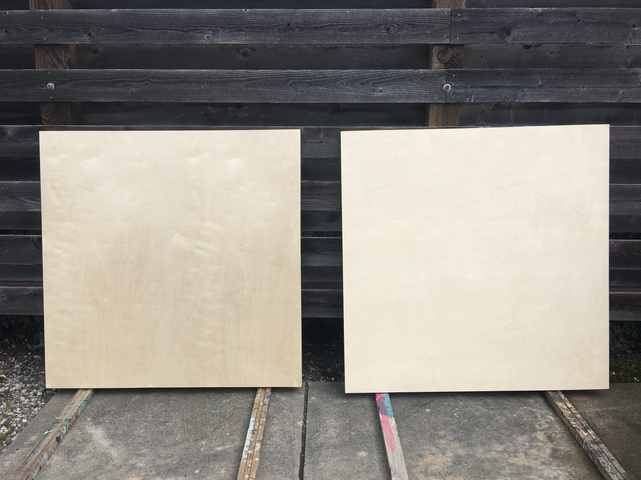 48 x 48 x 1.5 inch hard wood panels (BEFORE)