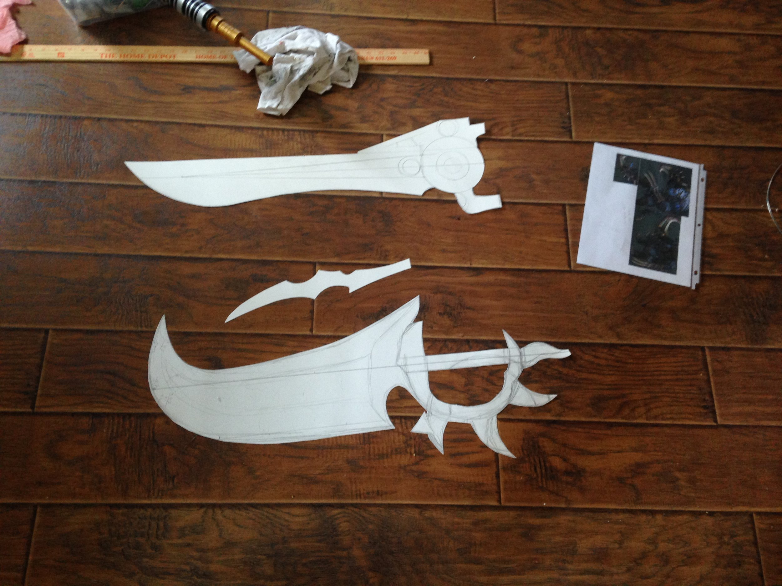 Here are the patterns for the blades (along with the engine sword I built. You'll get to see that later.