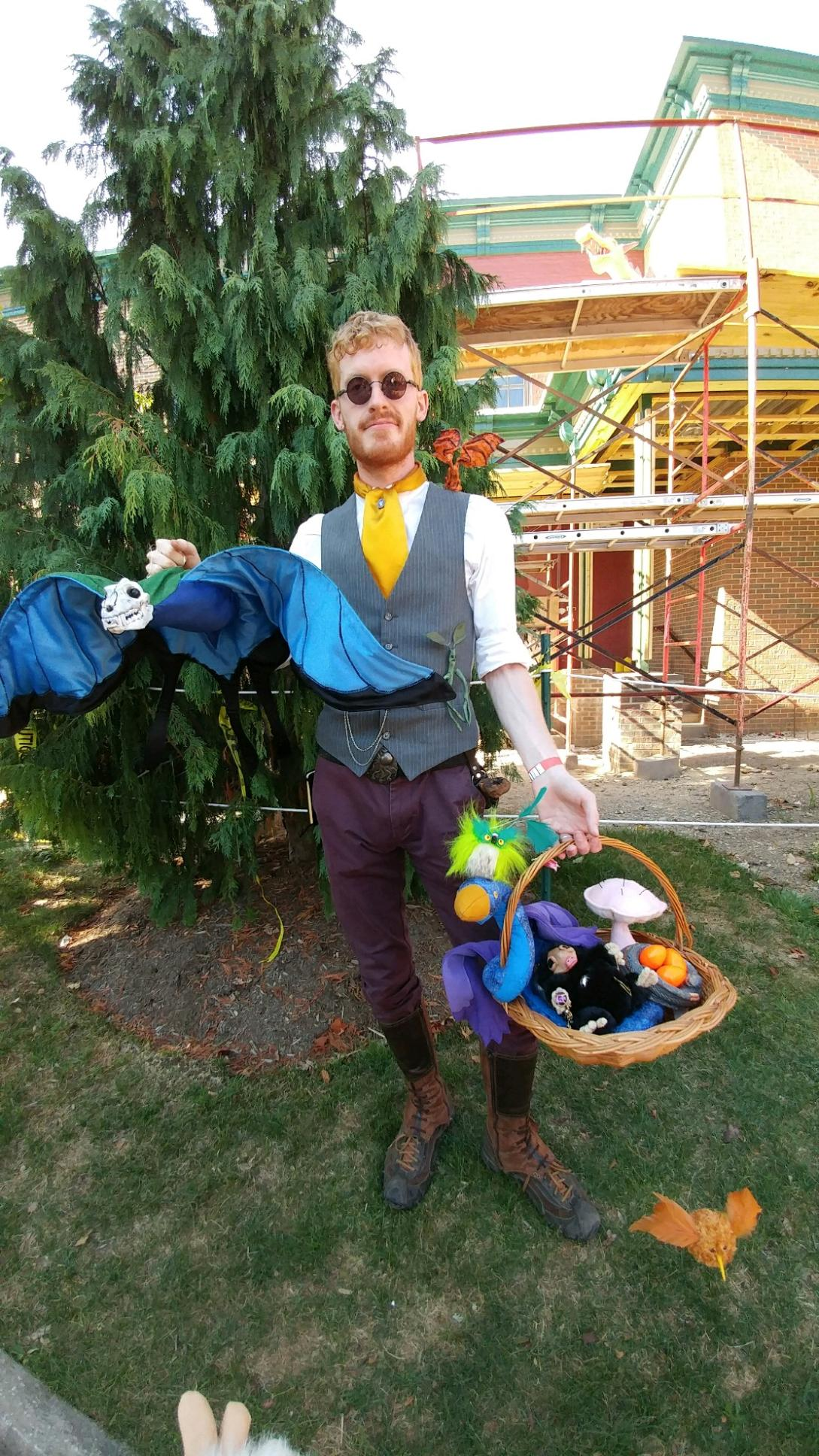 Here's a photo from Kent Potterfest of my magizoologist outfit and collection of creatures. I have enough at this point that I can't physically carry all of them at the same time XD