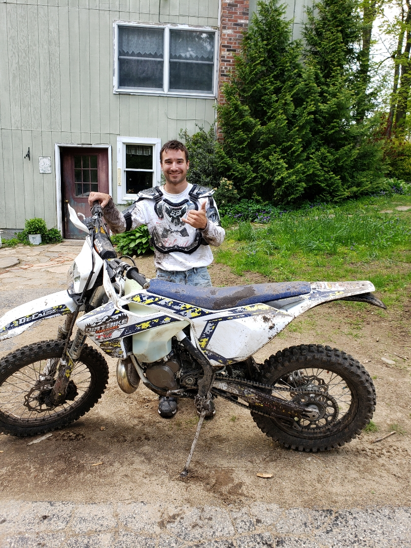 2019 Husqvarna TE300i - Cody Vendrillo - Cody was driving to meet up some friends on a Saturday night when he found out that he won the sweepstakes.  Since he lives in Connecticut, we shipped the bike to him.  This pic was taken after his first ride.