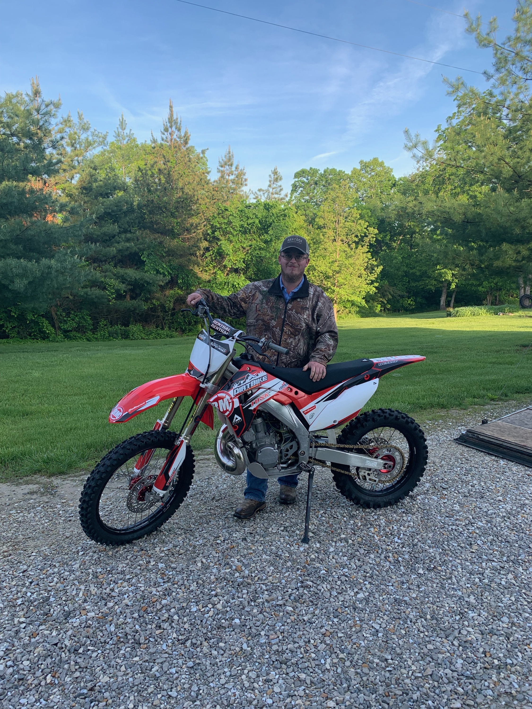 2003 Honda CR250R - Trenton Rice - Trenton was watching the live feed when his name was drawn as one of the dirt bike winners.  He is from Missouri, so we shipped the bike to him.  He's trilled with his new bike!