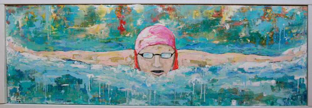 "FLY GIRL /  mixed media on canvas / framed / 75.5"" x 27"" /  1800"