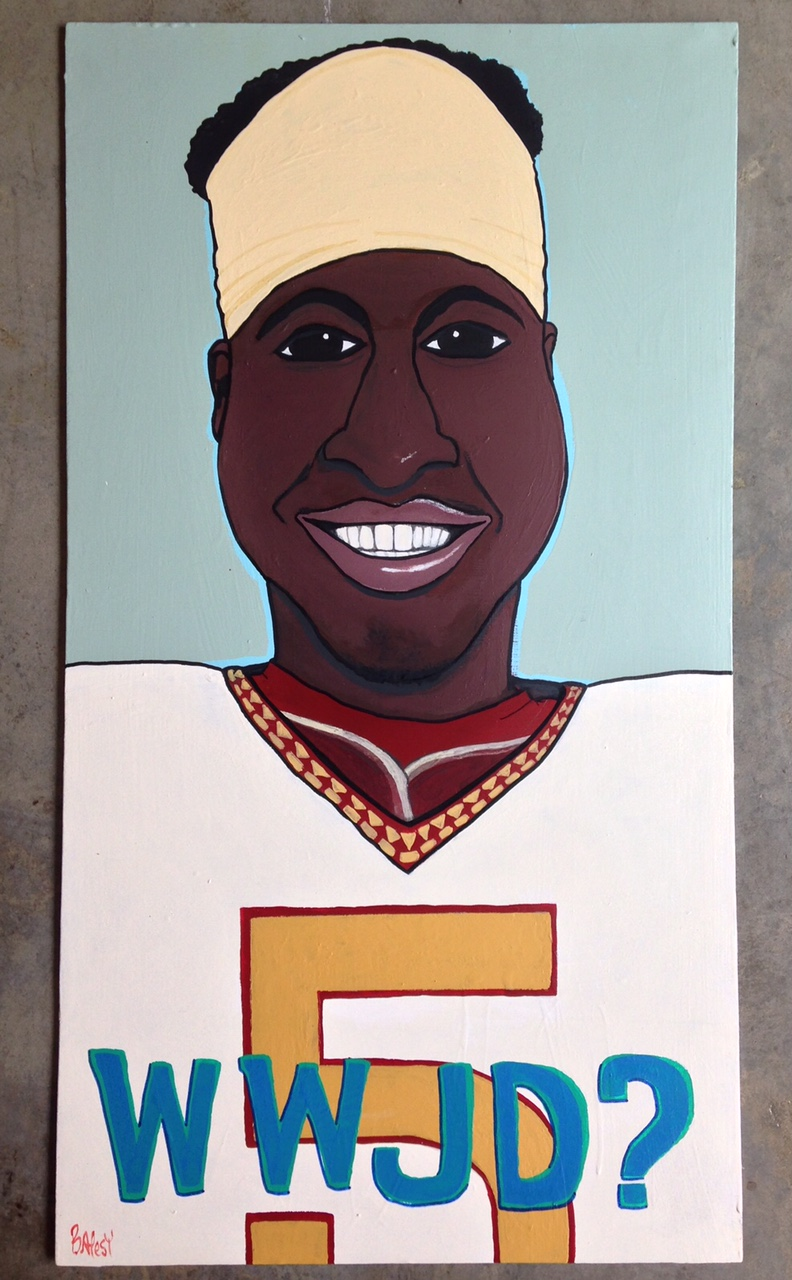 WHAT WOULD JAMEIS DO? / paint on wood / 375 SOLD