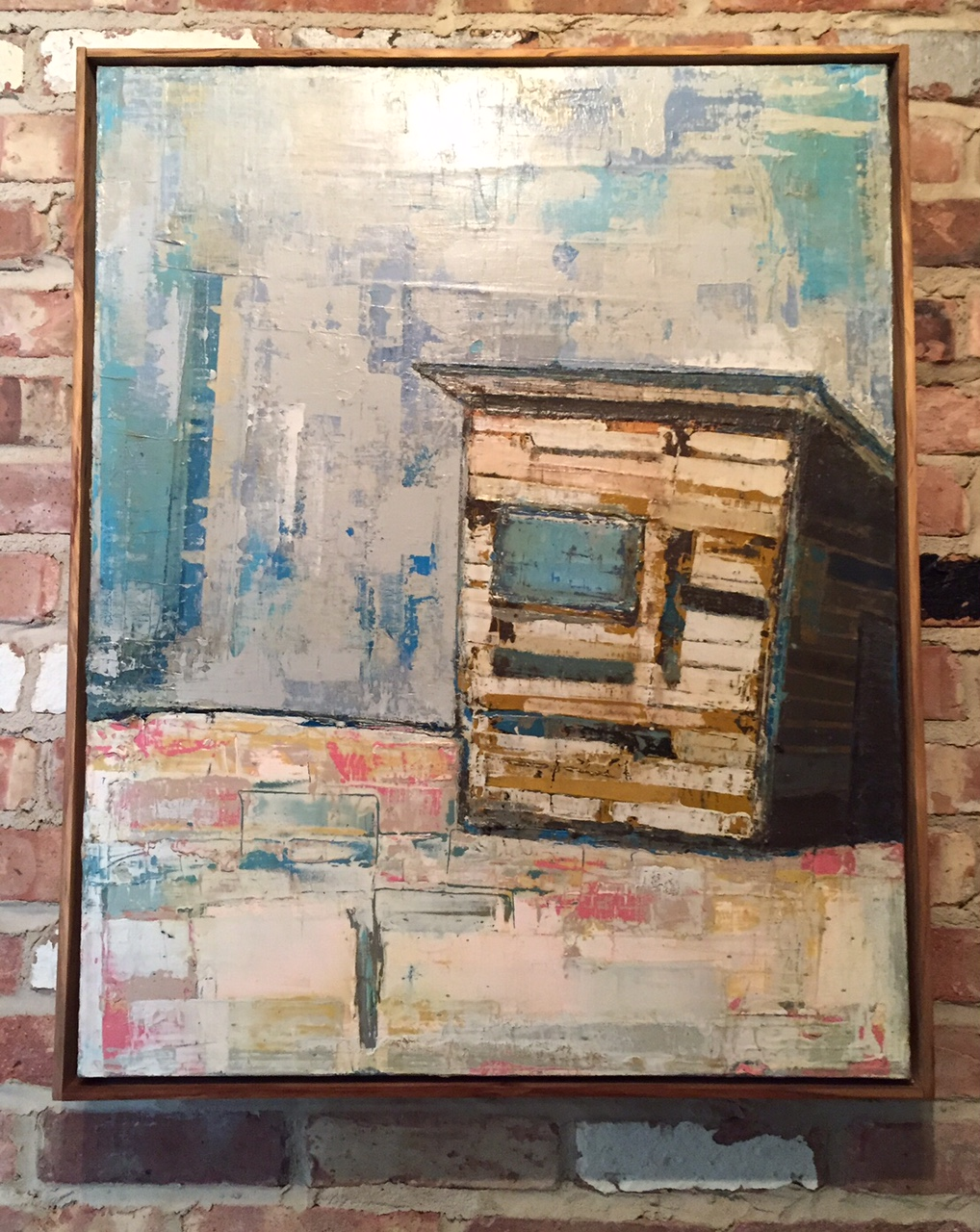 "BOARD ROOM /  mixed media on canvas / framed / 25"" x 31""  / SOLD"