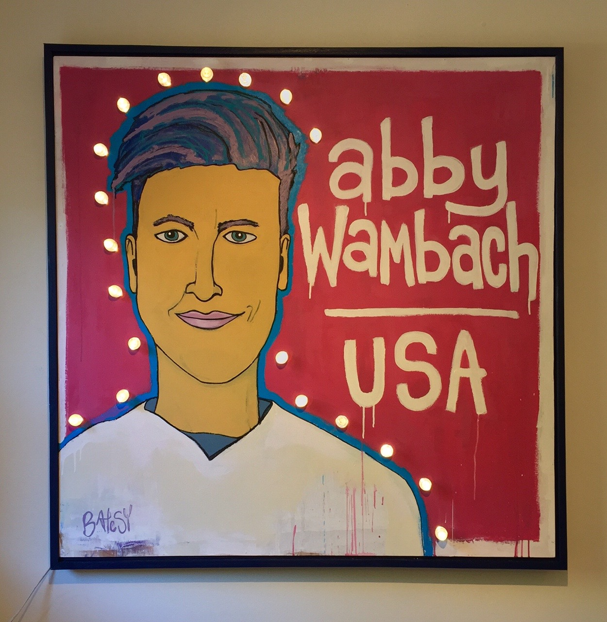 """ABBY / paint on wood LED lights / 50"""" x 50"""" / 2000 / SOLD"""
