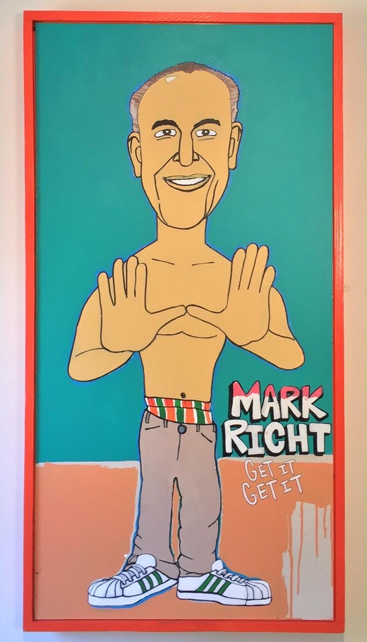 """Mark Richt - Get It Get It / paint on wood / 34""""x50"""" / 850"""