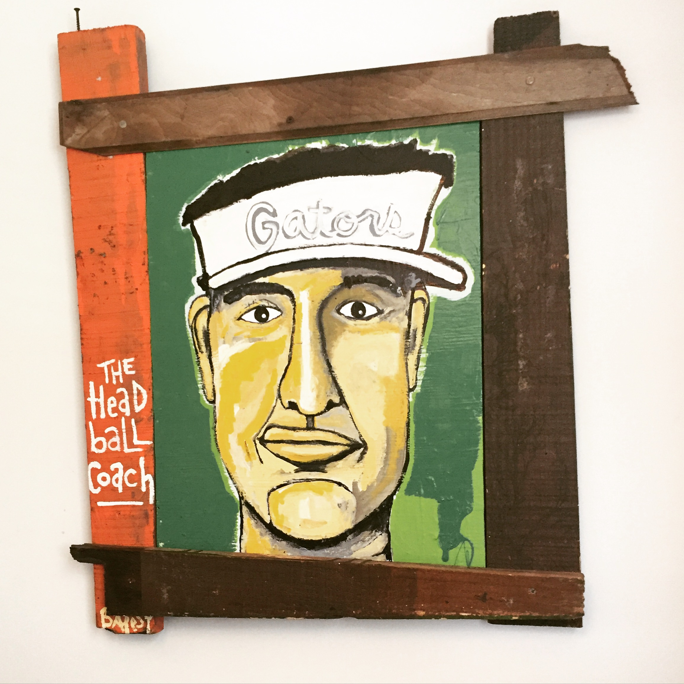 """The Head Ball Coach 32""""x38"""" / paint on wood found on Crescent Beach, FL / 450 SOLD"""