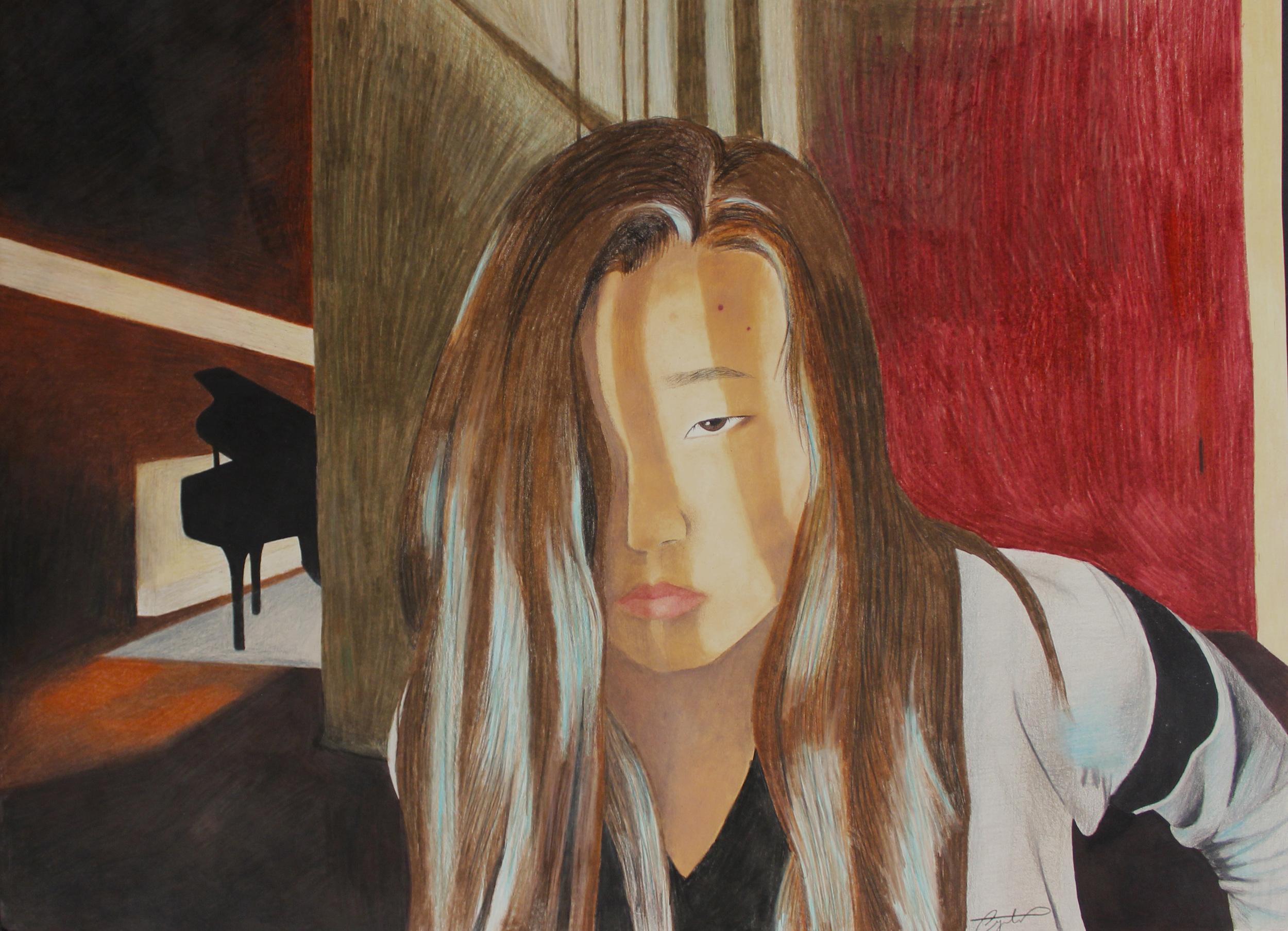 Self-Portrait WithPiano.jpg Angela Park Colored Pencil 19.jpg