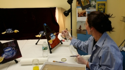 M Cecilia Swaneck in oil painting class with Pearl McCarthy.jpg