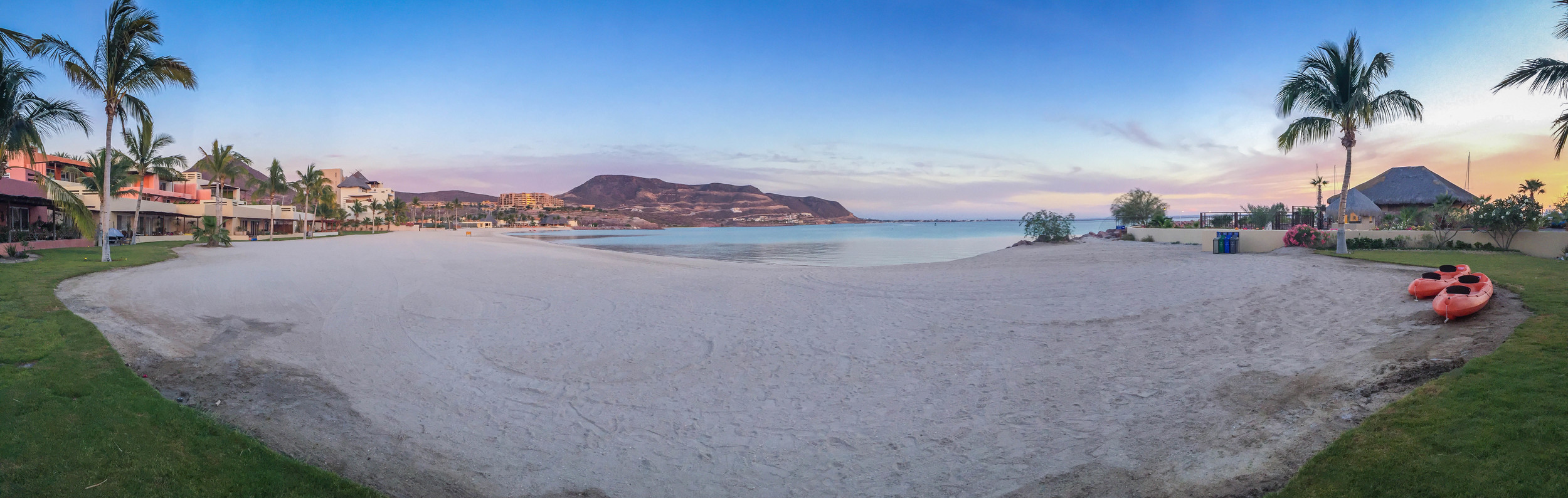 We stayed at Costa Baja Resort and had the most incredible sunsets each night! This is our private beach with plenty of paddle boards, kayaks and other water toys!